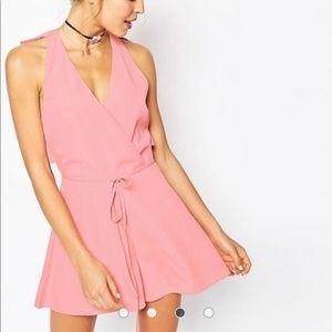 ASOS Pink Ruffle back tie romper